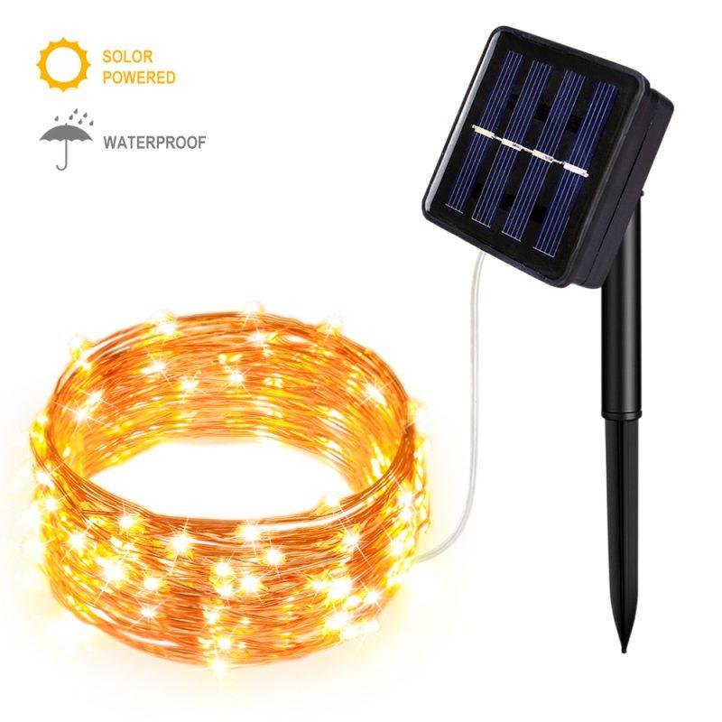 太阳能供电8功能暖白铜线灯串-5米50灯