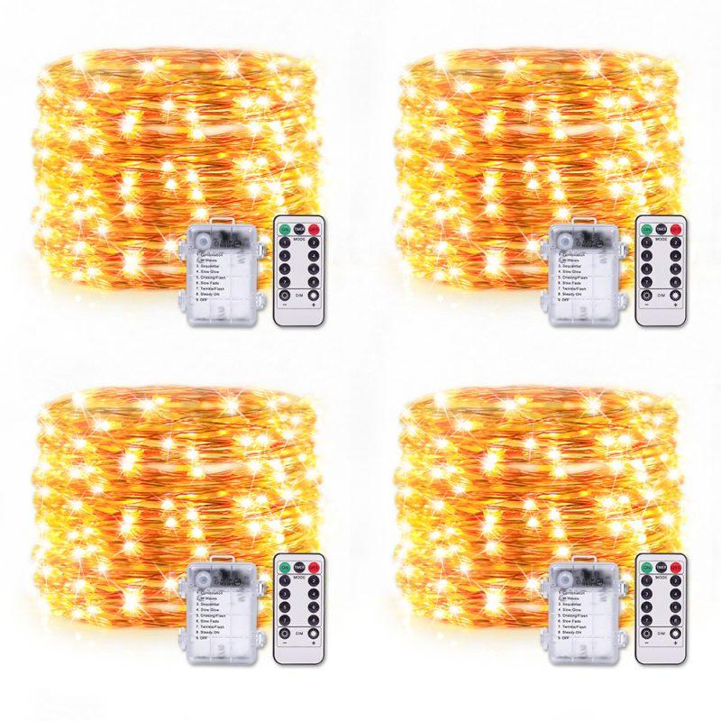 防水电池盒供电8功能正反贴暖白-5米50灯铜线灯(4个套装)