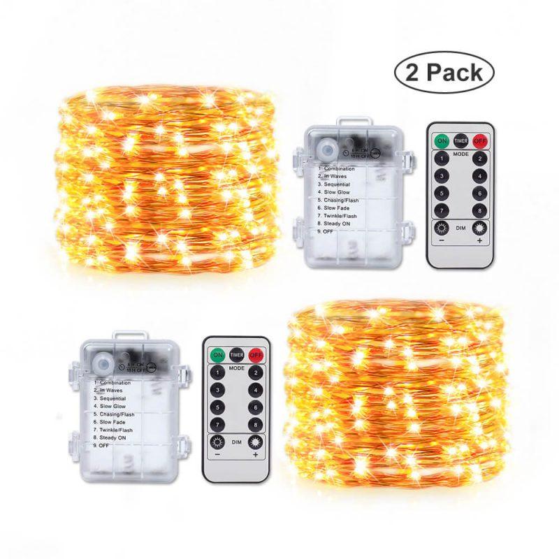 防水电池盒供电8功能正反贴暖白-5米50灯铜线灯(2个套装)