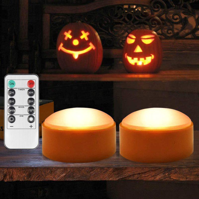 万圣节南瓜灯电池供电带遥控和定时器-2件装橙色